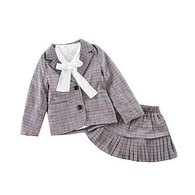 baratos Conjuntos para Meninas-Infantil Bébé Para Meninas Activo Moda de Rua Xadrez Manga Longa Algodão Conjunto Cinzento