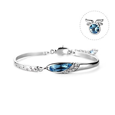 abordables Bracelet-Bracelet Bracelet en cristal Femme Géométrique Cristal Cristal haut de gamme Bleu foncé Capricorne simple Coréen Mode Le style mignon Elégant Bracelet Bijoux Bleu Circulaire pour Anniversaire Cadeau