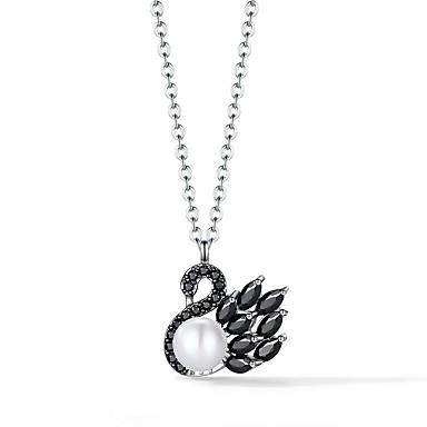 billige Mote Halskjede-Dame Halskjede Small S925 Sterling Sølv Svart 40+3 cm Halskjeder Smykker 1pc Til Daglig Valentine