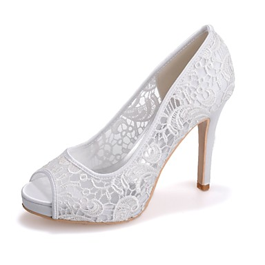 povoljno Ženske cipele-Žene Čipka Proljeće ljeto slatko Vjenčanje Cipele Stiletto potpetica Peep Toe Crn / Pink / Kristalne / Zabava i večer