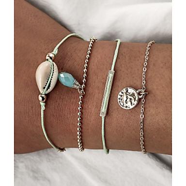 abordables Bracelet-4pcs Bracelets Vintage Boucles d'oreilles / Bracelet Bracelet Pendentif Femme Multirang Coquillage Verticale Poire Coquillage simple unique Classique Rétro Vintage Mode Bijoux d'Hawaï Bracelet Bijoux