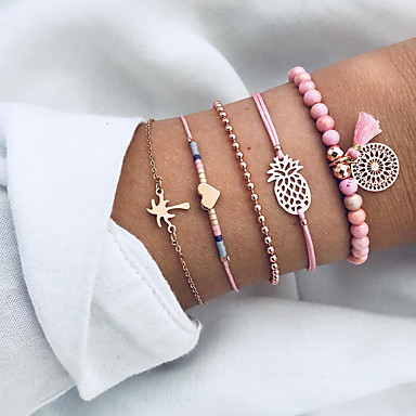 abordables Bracelet-Bracelet Femme Multirang Résine Cœur Ananas Cocotier Franges Ethnique Mode Bracelet Bijoux Rose pour Quotidien