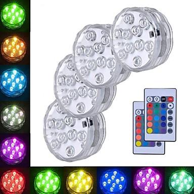 povoljno Vanjska rasvjeta-4kom 3 W Podvodna svjetla Vodootporno / Daljinski upravljano / Ukrasno RGB 5.5 V Bazen / Prikladno za vaze i akvarije 10 LED zrnca