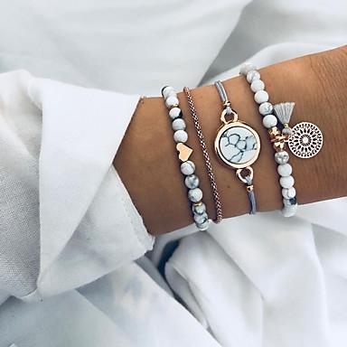 billige Motearmbånd-Dame Perlearmbånd Armbånd Multi Layer Hjerte dusk Europeisk Etnisk Snor Armbånd Smykker Grå Til Daglig / Harpiks