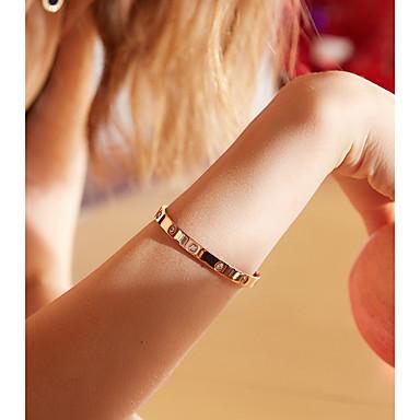 baratos Bangle-Mulheres Bracelete Simples Aço Titânio Pulseira de jóias Ouro Rose Para Aniversário Presente Diário namorados