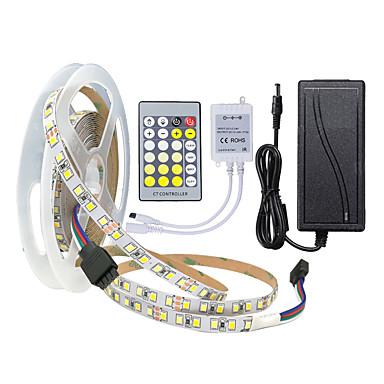 billige LED Strip Lamper-ZDM® 5 m Fleksible LED-lysstriper / Lyssett 600 LED 2835 SMD 1 24Kjør fjernkontrollen / 1 vekselstrømkabel / 1 x 12V 3A adapter Dual Light Source Color Kuttbar / Nytt Design / Koblingsbar 12 V 1set