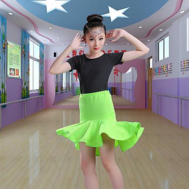 Balli latino-americani / Abbigliamento da ballo per bambini Completi Da ragazza Addestramento / Prestazioni Poliestere / Elastene Con balze strutturate Manica corta Gonne / Top