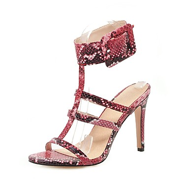 cheap Women's Shoes New Arrivals-Women's PU(Polyurethane) Spring & Summer Vintage Sandals Stiletto Heel Open Toe Buckle White / Blue / Burgundy / Wedding / Party & Evening