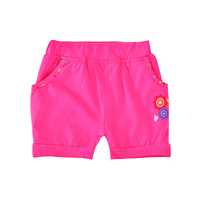 baratos Calças & Leggings para Meninas-Infantil Bébé Para Meninas Activo Básico Floral Estampado Algodão Shorts Fúcsia