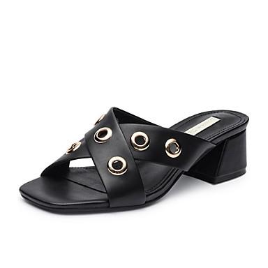 47138f413a2 Γυναικεία Νάπα Leather Καλοκαίρι / Φθινόπωρο Βίντατζ / Καθημερινό Σανδάλια  Κοντόχοντρο Τακούνι Στρογγυλή Μύτη Μαύρο / Μπεζ