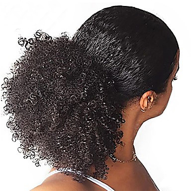 Afro Kinky Curly Ponytail For Black Women 100% Human Hair Clip In Ponytails 10-22inch Natural ...