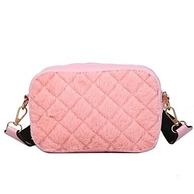 Kadın's Çantalar Kadife Omuz çantası için Günlük Beyaz / Siyah / Doğal Pembe