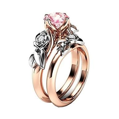 billige Motering-Dame Ring Kubisk Zirkonium 2pcs Rosa Legering Gave / Daglig Kostyme smykker