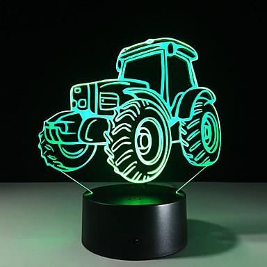 traktori 3D-valaisimet 7 väriä vaihtaa akryyli yövaloa lapsille 5v