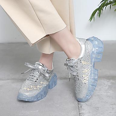 ad908524379 Γυναικεία Συνθετικά Άνοιξη Αθλητικό / Καθημερινό Αθλητικά Παπούτσια Επίπεδο  Τακούνι Τεχνητό διαμάντι Ασημί