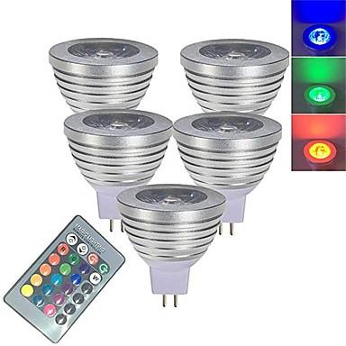 billige Elpærer-5pcs 3 W LED-spotpærer Smart LED-lampe 250 lm MR16 1 LED perler SMD 5050 Smart Mulighet for demping Fjernstyrt RGBW 12 V / RoHs