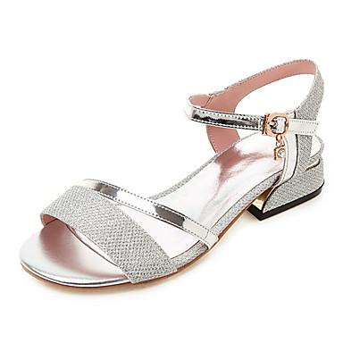 สำหรับผู้หญิง หนังเทียม ฤดูร้อนฤดูใบไม้ผลิ รองเท้าแตะ ส้นหนา เปิดนิ้ว สีทอง / สีเงิน