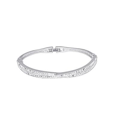 baratos Bangle-Mulheres Bracelete Clássico Estiloso Simples Europeu Doce Strass Pulseira de jóias Prata / Ouro Rose Para Diário