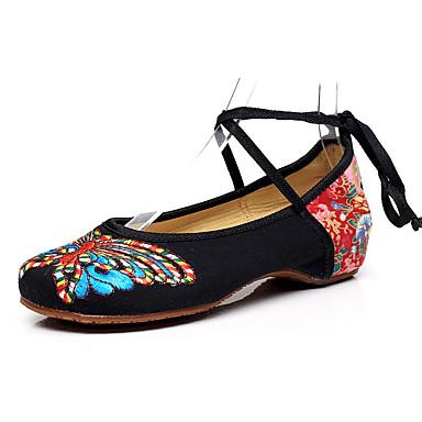Women's Canvas Spring & Summer Flats Hidden Heel Black / Red / Green