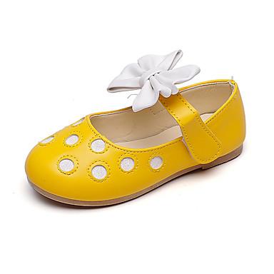 voordelige Babyschoenentjes-Meisjes Bloemenmeisjesschoenen Leer Platte schoenen Peuter (9m-4ys) / Little Kids (4-7ys) / Big Kids (7jaar +) Strik Zwart / Geel / Roze Herfst / Lente zomer