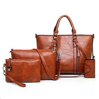 女性用 バッグ PU バッグセット 4個の財布セット ボタン 純色 ピンク / グレー / Brown