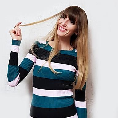 Συνθετικές Περούκες Κατσαρά Ίσια / Φυσικό ευθεία Στυλ Πλευρικό μέρος Χωρίς κάλυμμα Περούκα Χρυσό Ανοικτό Χρυσαφί Ανοικτό Καφέ Μαύρο / Λευκό Συνθετικά μαλλιά 24 inch Γυναικεία / Μαλλιά με ανταύγειες