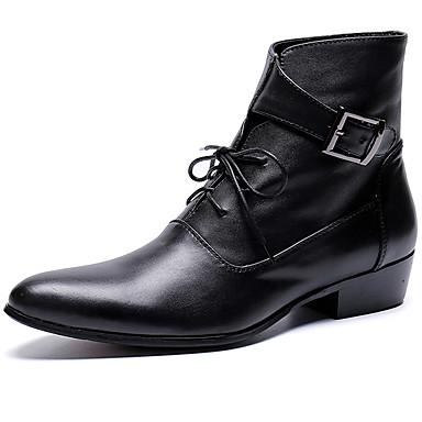 Miesten Fashion Boots Nappanahka Syystalvi Vapaa-aika / Englantilainen Bootsit Pidä lämpimänä Nilkkurit Musta