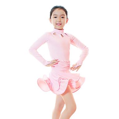 Dança Latina / Roupas de Dança para Crianças Vestidos Para Meninas Treino Fibra de Leite Franzido / Ondulado / Em Camadas Manga Longa Alto Vestido