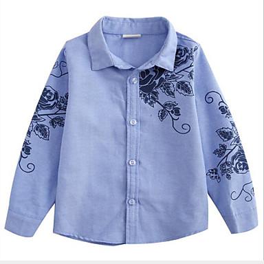 baratos Camisas para Meninos-Infantil Para Meninos Activo Moda de Rua Diário Para Noite Floral Estampado Manga Longa Padrão Camisa Azul