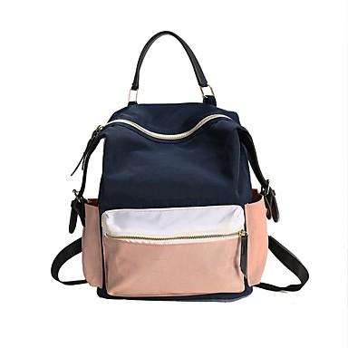 halpa Reput-Naisten / Unisex Vetoketjuilla Koululaukku Backpack Kangas Color Block Uima-allas / Punastuvan vaaleanpunainen / Syystalvi