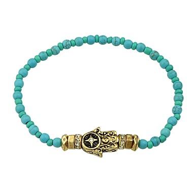 abordables Bracelet-Bracelet à Perles Femme Perlé Elégant Ethnique Bracelet Bijoux Arc-en-ciel Bleu Main de Fatma pour Quotidien Rendez-vous