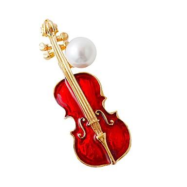 abordables Epingles & Broches-Femme Broche Musique Guitare Branché Mode Argent sterling Broche Bijoux Rouge Pour Quotidien Festival