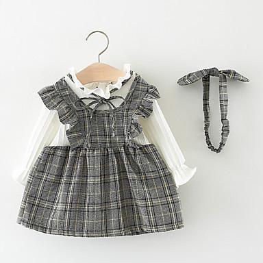 baratos Vestidos para Meninas-Bébé Para Meninas Activo Doce Listrado Quadriculada Laço Cordões Manga Longa Altura dos Joelhos Vestido Rosa / Algodão