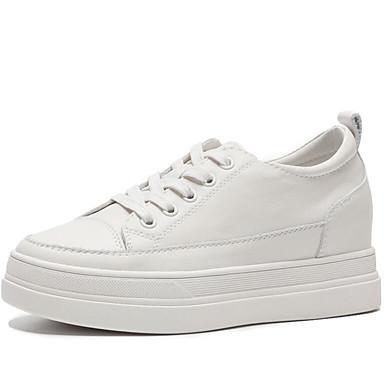 Per donna Di pelle Primavera estate / Autunno inverno Casual Sneakers Piatto Punta tonda Bianco / Beige