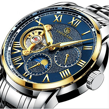 b2a3825ca6 Men's Mechanical Watch Automatic self-winding Black / Silver 30 m Water  Resistant / Waterproof Noctilucent Moon Phase Analog Luxury Sparkle - Dark  Blue ...