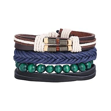 voordelige Herensieraden-4pcs Heren Lederen armbanden Meerlaags Retro gevlochten Uniek ontwerp Hip-hop PU Armband sieraden Blauw Voor Lahja Dagelijks
