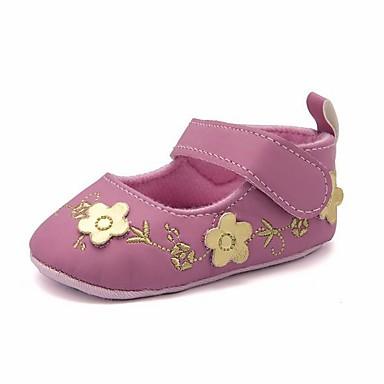 저렴한 9개월-4세 연령대-여아 면 플랫 유아 (9m-4ys) 첫 신발 화이트 / 블랙 / 핑크 봄 여름