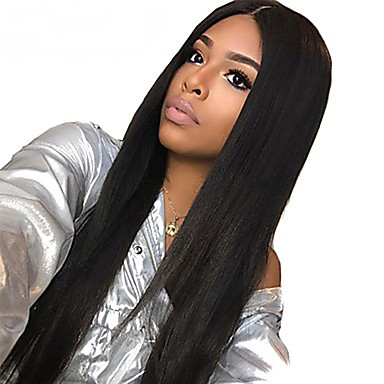 ... Lace Front Wig Deep Parting Kardashian style Brazilian Hair Straight Black  Wig 130% Density 10-24 inch with Baby Hair Natural Hairline For Black Women 9783c584f
