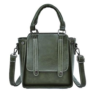 สำหรับผู้หญิง กระเป๋าต่างๆ PU กรเป๋าหิ้ว กระดุม สีทึบ สีเทา / กาแฟ / สีน้ำตาล