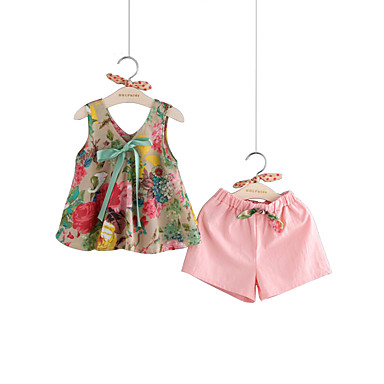 baratos Conjuntos para Meninas-Bébé Para Meninas Activo Moda de Rua Festa Diário Sólido Floral Laço Estampado Sem Manga Padrão Padrão Algodão Linho Conjunto Rosa