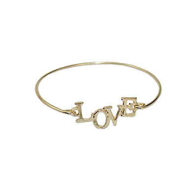 abordables Bracelet-Bracelet Jonc Femme Lettre simple initiale Bracelet Bijoux Dorée pour Vacances Sortie