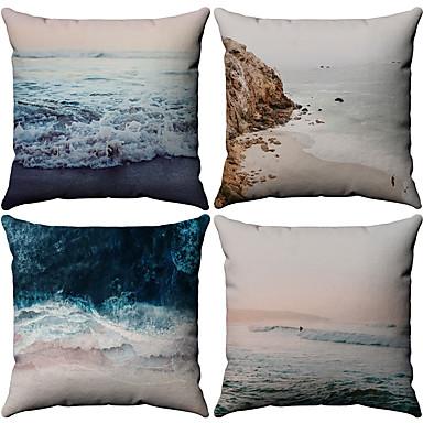 4.0 adet Pamuk / Keten Yastık Kılıfı, Desen Denizle İlgili Desenli Doğadan Esinlenmiş