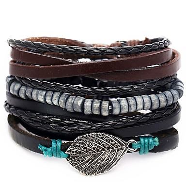 voordelige Herensieraden-4pcs Heren Lederen armbanden Retro Touw gevlochten Bladvorm Uniek ontwerp Hip-hop PU Armband sieraden Zwart Voor Lahja Dagelijks