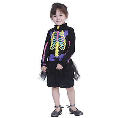 Luuranko / Pääkallo Mekot Cosplay-Asut Lasten Tyttöjen Hameet Halloween Halloween Karnevaali Masquerade Festivaali / loma Polyesteria Sateenkaari Karnevaalipuvut Pääkallokuvio