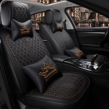 voordelige Auto-interieur accessoires-5 zitplaatsen met twee kussens en twee taille pads vier seizoenen universele autostoelhoes / pu leer / airbag compatibiliteit / verstelbaar en afneembaar