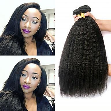 voordelige Weaves van echt haar-4 bundels Braziliaans haar KinkyRecht Onbehandeld haar Menselijk haar weeft Bundle Hair Een Pack Solution 8-28inch Natuurlijke Kleur Menselijk haar weeft Schattig Creatief Zacht Extensions van echt