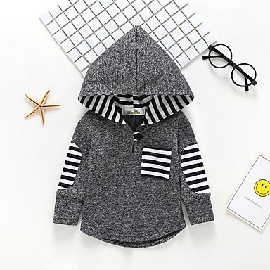 baratos Moletons Para Meninos-bebê Para Meninos Activo / Básico Listrado Manga Longa Algodão Moleton & Blusa de Frio Cinzento / Bébé