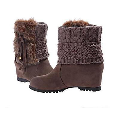 voordelige Dameslaarzen-Dames Laarzen Leer / PU Comfortabel / Legerlaarzen Winter Zwart / Koffie / Bruin