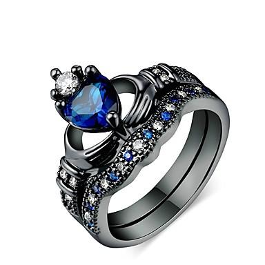 voordelige Herensieraden-Heren Dames Ring Verlovingsring 2pcs Donkerblauw Legering Cirkelvormig Dagelijks Ceremonie Sieraden Hart