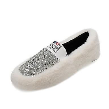 dc9388eeb14 Women s Faux Fur Winter Loafers   Slip-Ons Flat Heel White   Black   Khaki